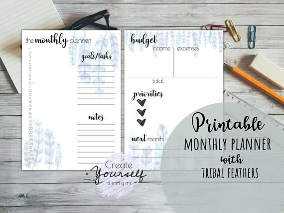 Check out this item in my Etsy shop https://www.etsy.com/listing/560132599/printable-planner-printable-monthly