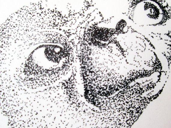 E.T. Pen And Ink Dot Original Drawing