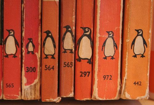 penguins on literary parade...the acidic mime people club books in shades of orange...second chakra, style