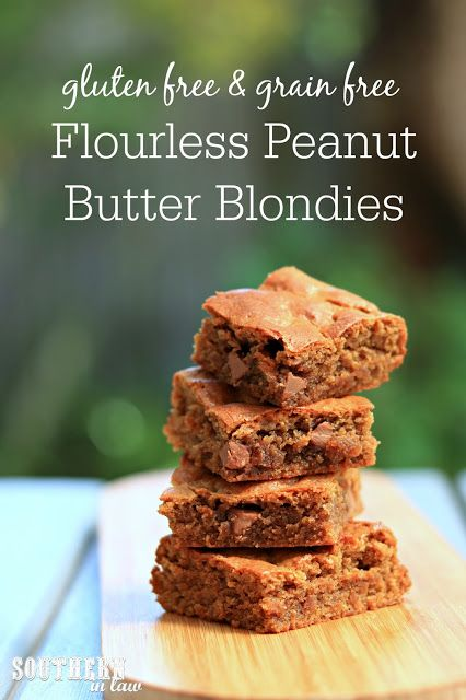 This Easy Flourless Peanut Butter Blondies Recipe will become a family favorite. Grain free, gluten free and refined sugar free too, these kid friendly chocolate chip cookie bars use just one bowl and take just a few minutes to make. Recipe includes tips for making it crisp and chewy or soft and gooey. The best last minute dessert recipe! A great healthy or healthier dessert recipe as it is free from refined sugar.