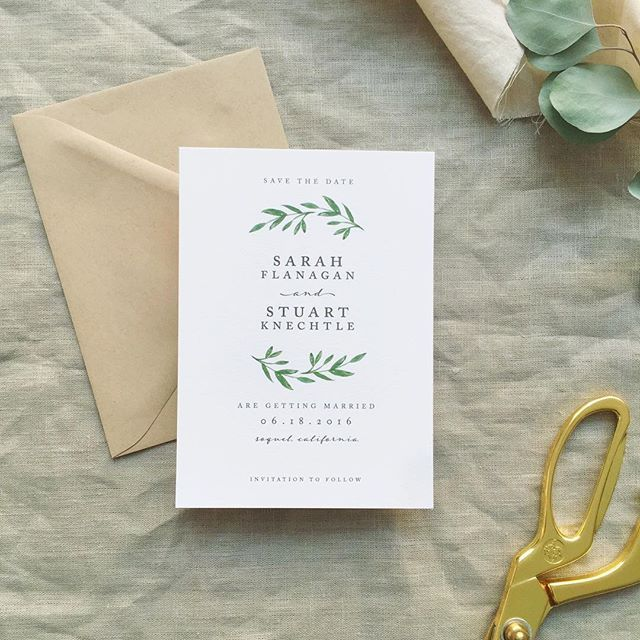 Simple laurel save the date. Easy print wedding invites. Plus they look lovely.