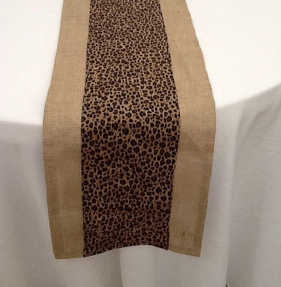Cheetah Print and Burlap Table Runner Custom by LolaRoseDesigns