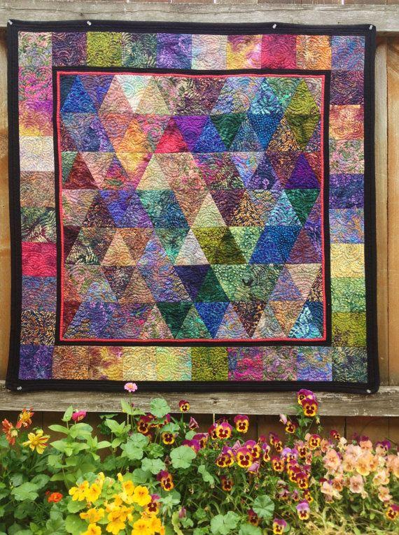 Modern Geometry Batik Quilt on Etsy, $250.00