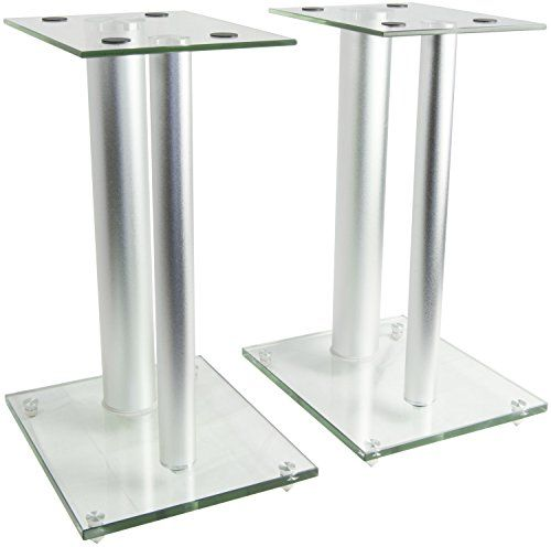 #electronics #sanyo #VIVO premium universal aluminum and glass speaker stand (2 stands) for satellite speakers, bookshelf speakers, and more. Designed to elevate...