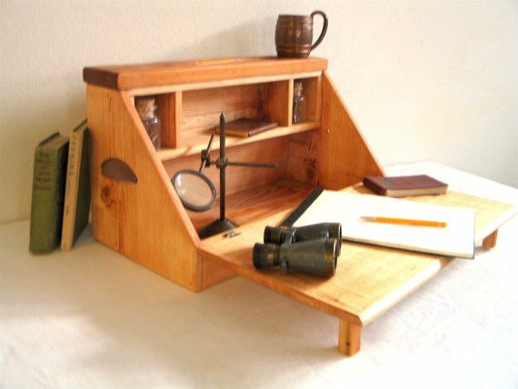 Portable Writing Desk  Secretary by BluejaysWorkshop on Etsy, $149.00: Portable Writing Desks, Portable Crafts, Crafts Desks, Woodworking Ideas, Projects Secretary, Etsy, Desks Secretary, 149 00