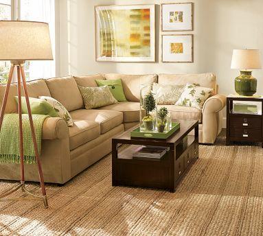 jute rug, dark coffee table, floor lamp... nice. needs more colour though