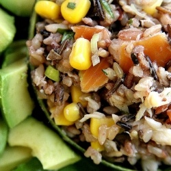 Wild Rice Smoked Trout Salad: A great warm weather lunch paired with farm fresh baby arugula and avocado