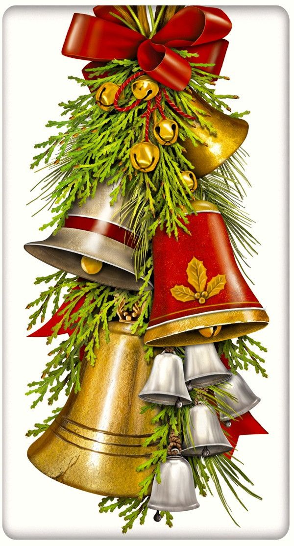 Christmas Bells 100% Cotton Flour Sack Dish Towel Tea Towel