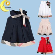 Nuevo vestido de niña de verano sin mangas del bebé ropa de moda para niños ropa de niños vestidos del tutú de la princesa vestidos de algodón a cuadros(China (Mainland))