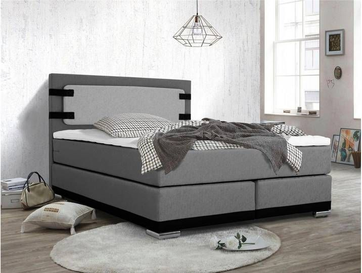 Inosign Boxspring Bett Incl Topper Grau Taschenfederkern H3