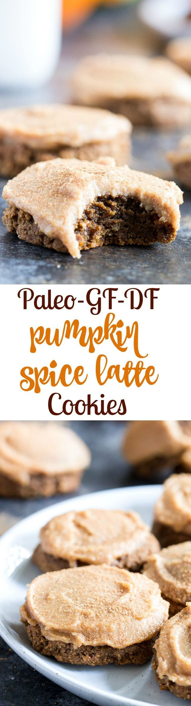 "These Paleo Pumpkin Spice Latte Cookies have lots of sweet spice and are topped with a maple cinnamon cashew ""cream cheese"" frosting! Soft and chewy, gluten-free, dairy-free, vegan option. #glutenfree #vegan #pumpkin #cleaneating #fallrecipes"
