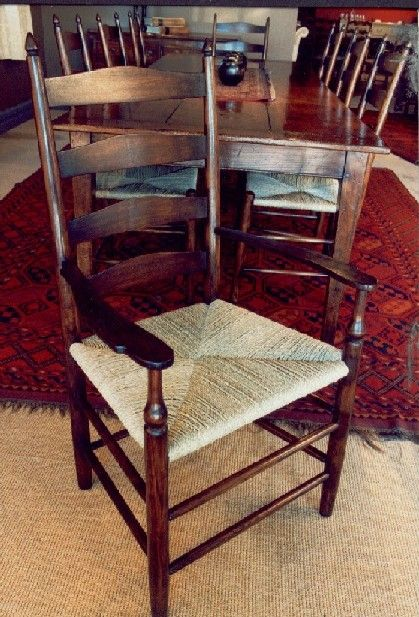 Shaker Style Ladderback Carver Chair with Seagrass Seat - French Oak