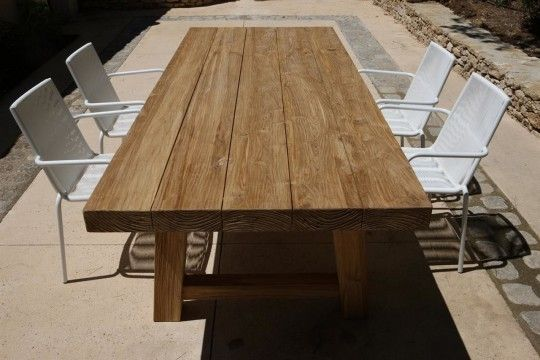 outdoor dining table Block, outdoor aged teak dining table PoyntersBlock