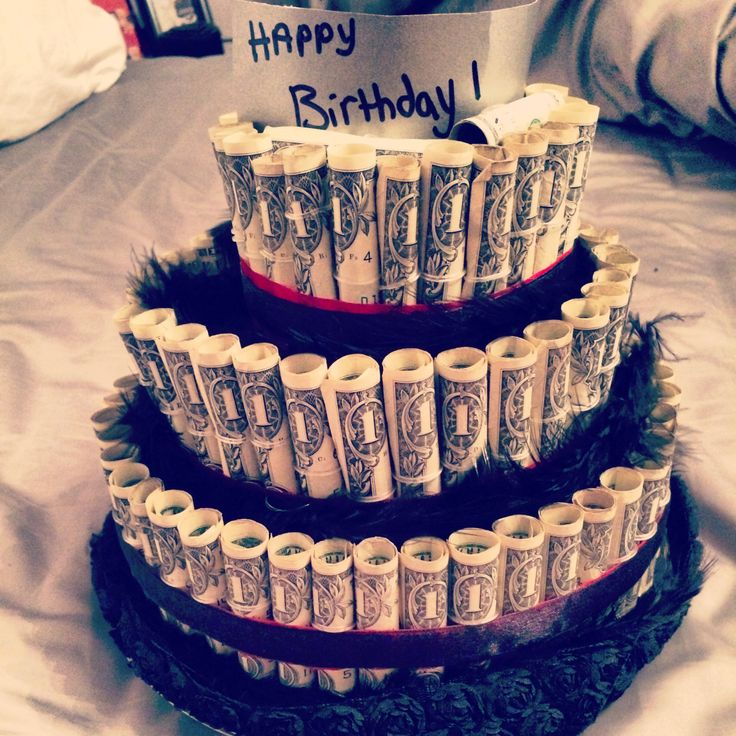 Great birthday gifts for him! Or anyone! Money cake!!! This took $110.. #imadethis