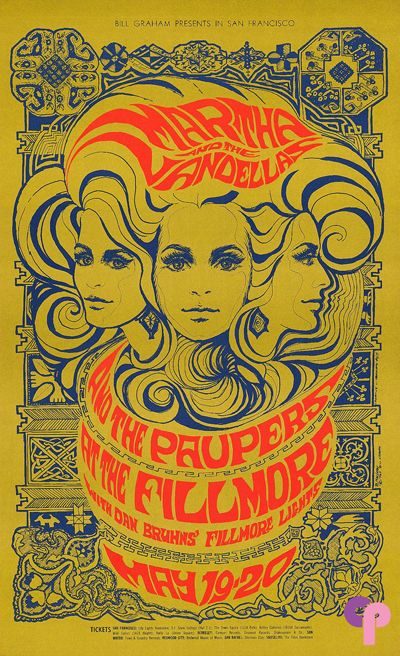 Classic Poster - Martha and the Vandellas at Fillmore Auditorium 5/19-20/67 by Bonnie MacLean