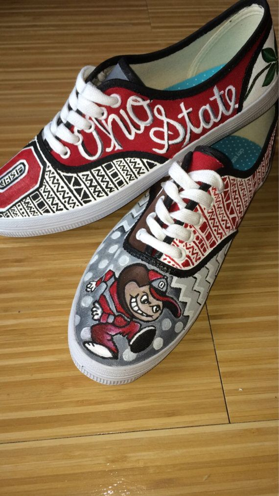 Custom painted Ohio State shoes by soleKexpressions on Etsy