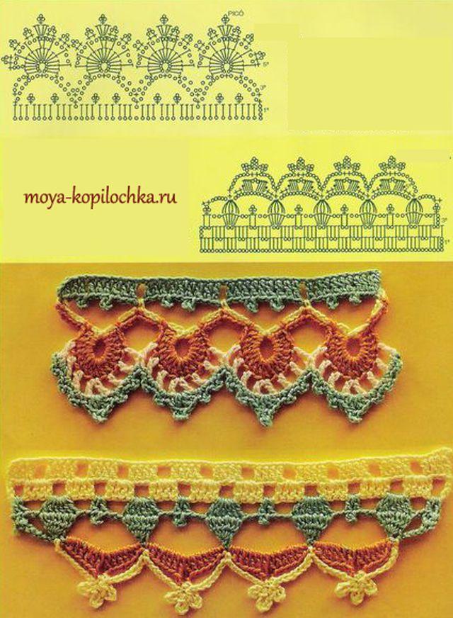 Gorgeous crochet borders! from charts. Вязаное кружево. 42 образца вязаного кружева для отделки края изделия
