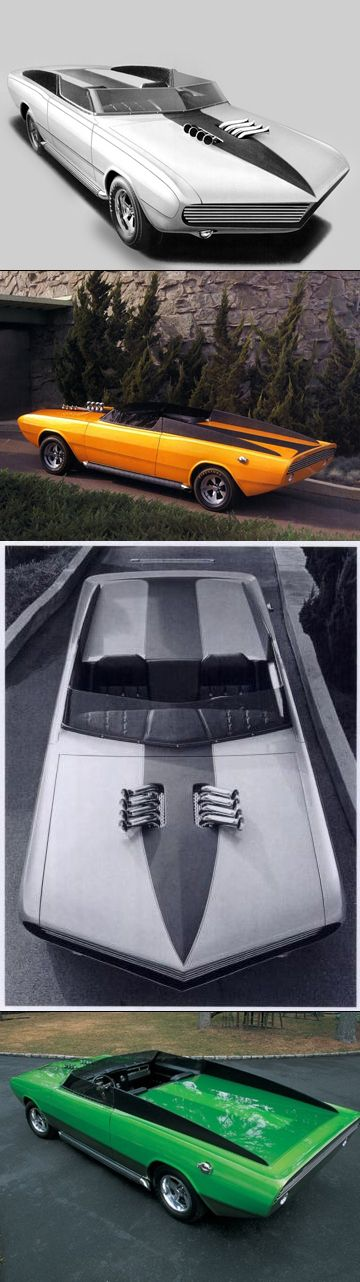 1) 1968 Dodge Daroo I Conceptual Rendering. 2) 1968 Dodge Daroo I Prototype. 3) 1968 Dodge Daroo I Promotional Photograph. 4) 1969 Dodge Daroo II / Modifications by  Barris (he straightened those awesome intake pipes on the hood, so they pointed straight