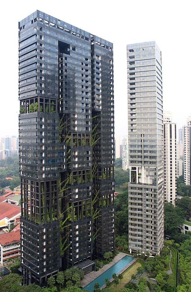 Vertical garden designed for Jean Nouvel apartment in Singapore.
