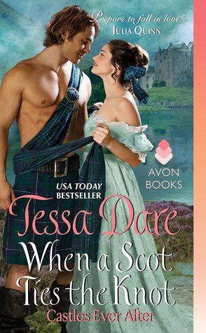 When a Scot Ties the Knot by Tessa Dare With a fierce Scotsman in a kilt who saves the damsel in panic-attacks-induced-stress, this story of made-up/real love will have you laughing and crying along the way. Tessa Dare