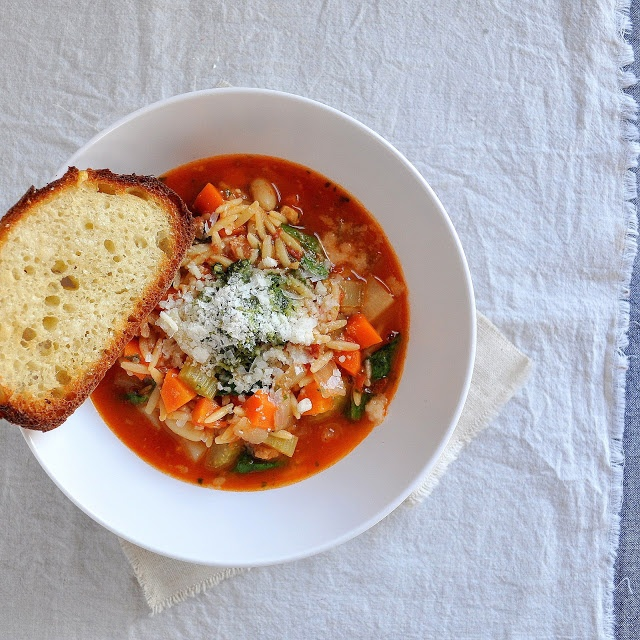 Winter Minestrone & Garlic Bruschetta | Delicious Things | Pinterest