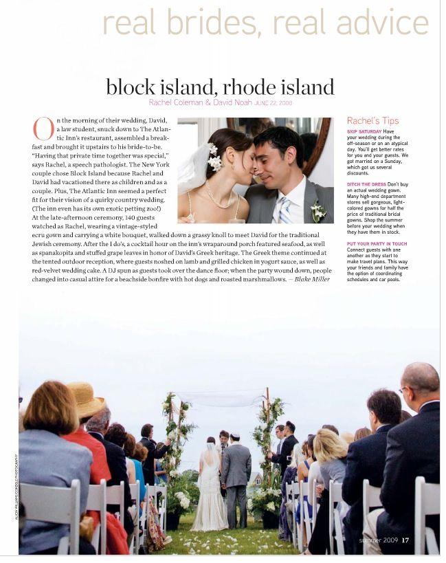 Featured in Destination Weddings and Honeymoons Magazine, Rachel and David on Block Island