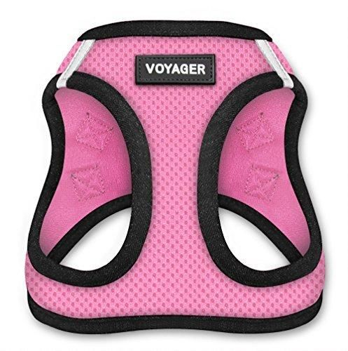 All Weather Voyager Step-in Mesh Harness for Dogs / Cats by Best Pet Supplies - Breathable Material - Double Security Metal D-Rings  Strong velcro Fastener- Best Pet Essentials- Unique Dog Owner Gifts (Pink Base Medium)