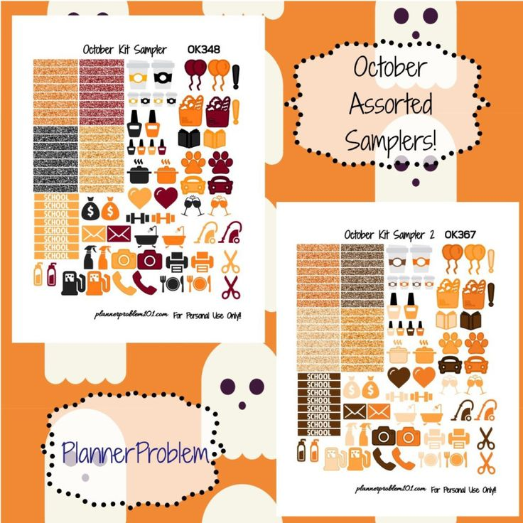 October Samplers! | Free Printable Planner Stickers