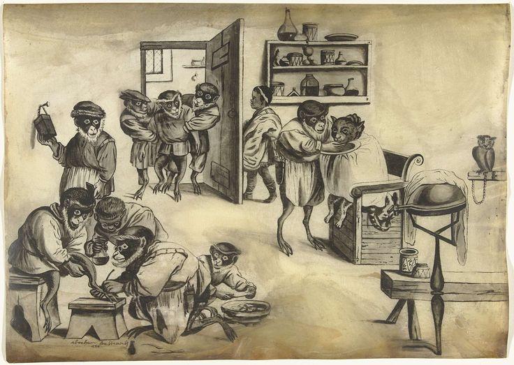 Abraham Bastiaensz. | Barbierswinkel met apen, ca. 1720, Abraham Bastiaensz., Quirin Boel, David Teniers (II), 1720 - 1799 | Barbierswinkel met apen, een kat die geschoren wordt en een negerjongen die de deur open doet voor een patient die binnen wordt gebracht.