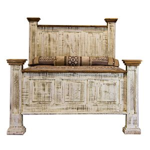 Antique white wash bed made in mexico rustic pine - White and pine bedroom furniture ...