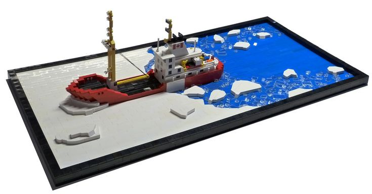 The Canadian Coast Guard provides icebreaking services for commercial ships, ferries and fishing vessels in ice-covered Canadian waters, including vessel escorts, harbour breakouts, maintaining shipping routes and providing ice information services.  These services: - ensure safe navigation, - prevent the formation of ice jams and flooding - maintain open routes for maritime commerce  Thanks Government of Canada website!  This little beauty (and it's took-longer-than-you'd-think ice a...