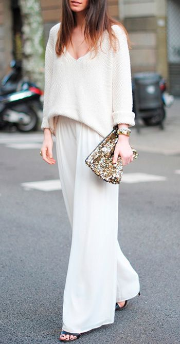 wide leg silk pants + white sweater~add glam clutch