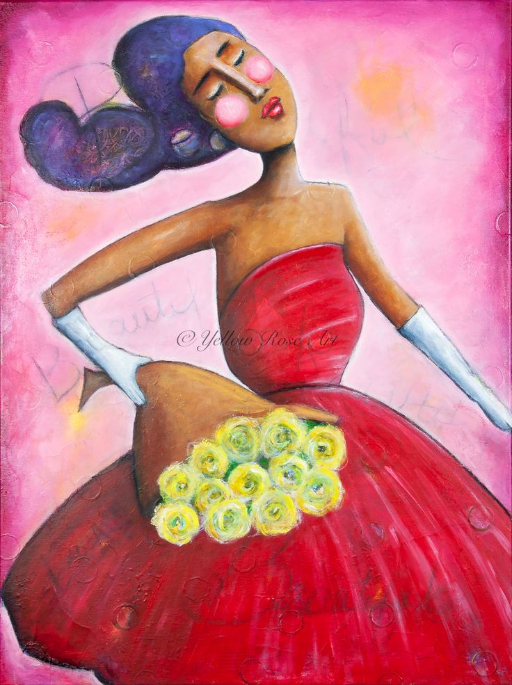 """""""Woman With a Dozen Roses"""" acrylic painting  by Sharon Harkness-Dobler"""
