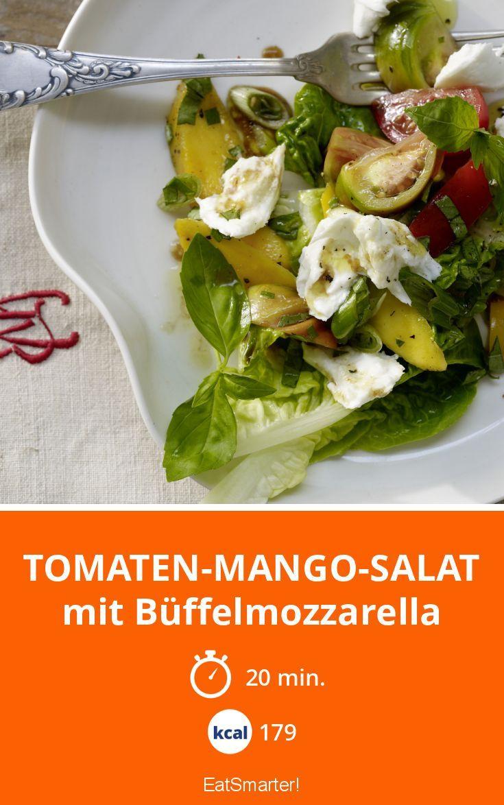 Tomaten-Mango-Salat - mit Büffelmozzarella - smarter - Kalorien: 179 Kcal - Zeit: 20 Min. | eatsmarter.de