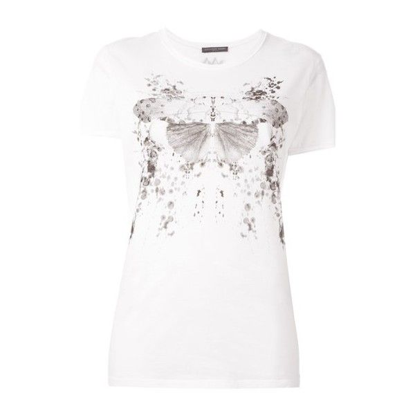 ALEXANDER McQUEEN Moth Print T-Shrt ($213) ❤ liked on Polyvore featuring tops, t-shirts, white, short sleeve cotton tops, round neck t shirt, white cotton tops, alexander mcqueen and alexander mcqueen t shirt