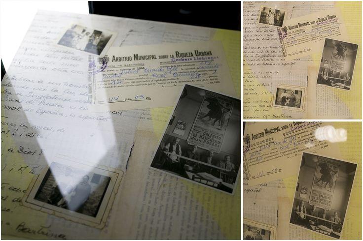 """Voorbeeld van tafelblad, bewerkt met papier, gegoten met epoxy en nabehandeld met pu lak. Thema; familietafel waarbij persoonlijke stukken uit """"d`oude doos"""" verwerkt zijn, handgeschreven brieven, foto`s en andere memorabilia met een hoog persoonlijk karakter."""