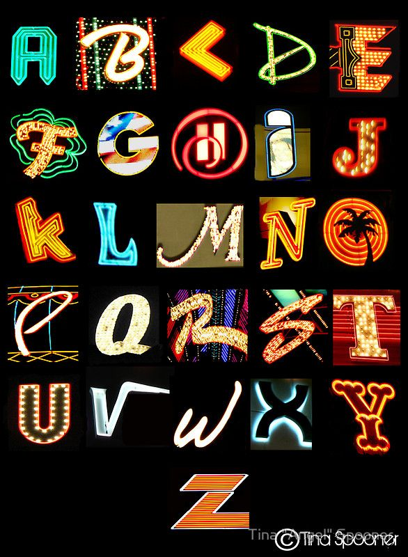 Las Vegas Alphabet in Old Neon Sign's Letters Poster
