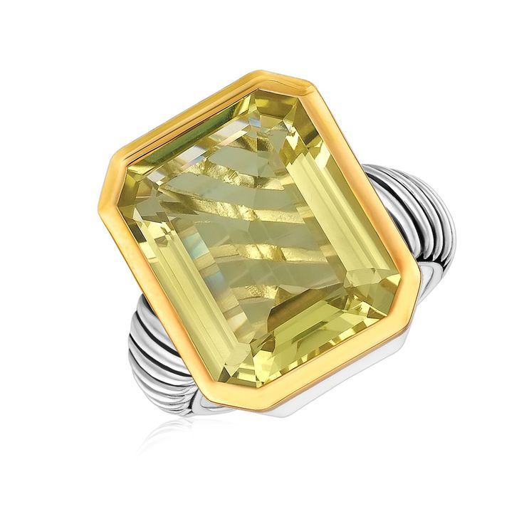 18K Yellow Gold and Sterling Silver Cable Shank Emerald Cut Lemon Quartz Ring
