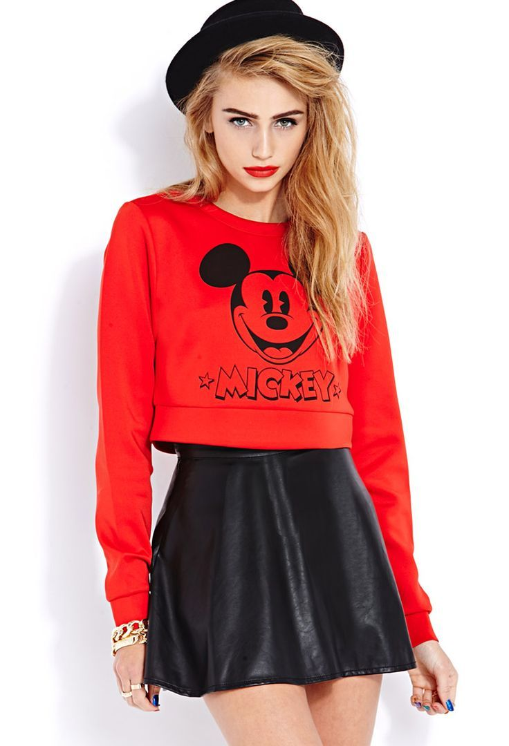 5c0eb14b4d0b5 Mickey Mouse cropped top   leather skirt