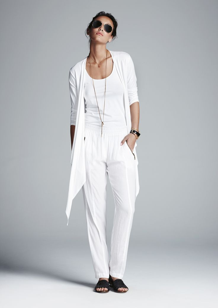 White ballet tank, white soft zip pant and white transit wrap.