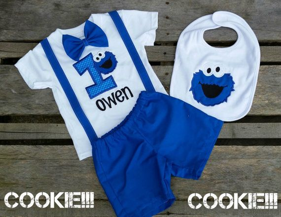 Boys Cookie Monster Birthday Outfit available in Bodysuit and