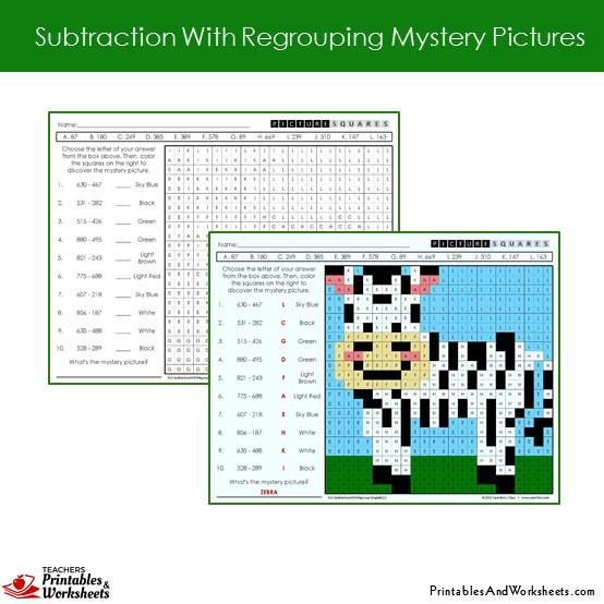 Grade 2 Subtraction With Regrouping Coloring Worksheets Sample 2