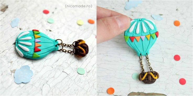 In <3 with hot air balloons - Polymer clay brooch