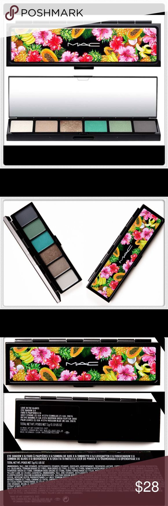 """💙MAC EYE SHADOW X6 PALLET ▪️MAC• """"LOVE IN THE GLADES"""" EYE SHADOW X6 •COLORS-Grey Stroke/Bye Bye Bahamas/Palm Leaves/Russian Blue/Cumulus/Neoprene Green  •SIZE-3g/0.10oz ▪️ALL ITEMS IN MY CLOSET ARE 100% AUTHENTIC ▪️THIS A NON TRADING CLOSET  •POSHMARK COMPLIANT•ALL SALES ARE FINAL ▪️ALL ITEMS IN MY CLOSET ARE THOROUGHLY INSPECTED ▪️BRAND NEW WITH ALL ORIGINAL TAGS ATTACHED • NO FLAWS •PERFECT CONDITION  •PRICE IS FIRM •OFFERS WILL NOT BE ENTERTAINED ~Starr💫 MAC Cosmetics Makeup Eyeshadow"""