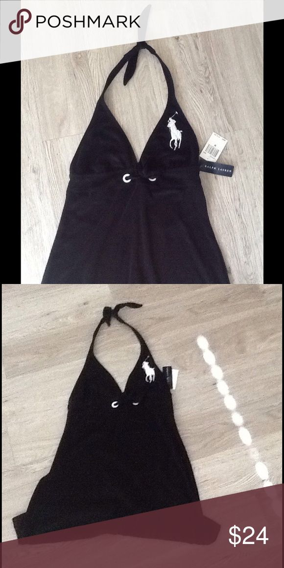 Ralph Lauren dress Cute never worn, big pony, Ralph Lauren Terry cloth dress. Black, with oversized pony design. Halter tie neck, drawstring below bust with cute oversized white detailed eyelet.  Perfect for a swimsuit coverup or lounging by the pool or beach. You can even wear it as just a dress. Polo by Ralph Lauren Dresses Midi