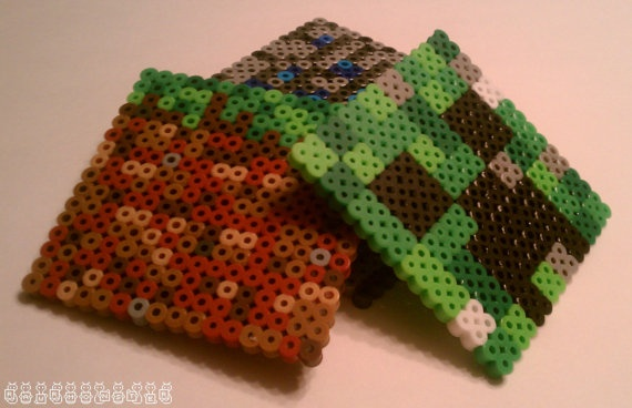 Minecraft coasters made out of Perler beads