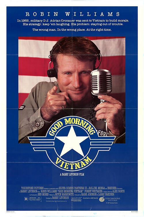 """Good Morning, Vietnam is a 1987 American military comedy-drama film written by Mitch Markowitz and directed by Barry Levinson. Set in Saigon in 1965, during the Vietnam War, the film stars Robin Williams as a radio DJ on Armed Forces Radio Service, who proves hugely popular with the troops, but infuriates his superiors with what they call his """"irreverent tendency"""". The story is loosely based on the experiences of AFRS radio DJ Adrian Cronauer."""