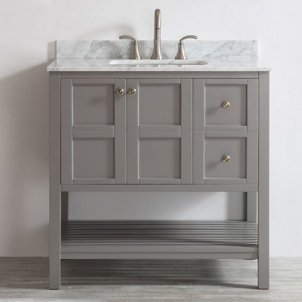 florence 36inch grey single vanity with carrera white marble top without mirror