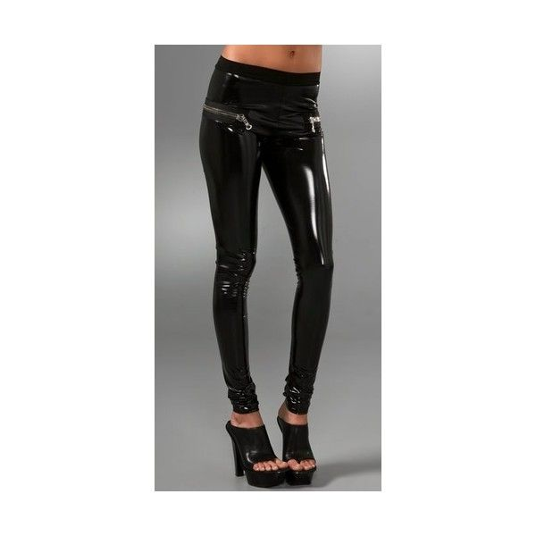 Les Chiffoniers Zip PVC Leggings (420 AUD) ❤ liked on Polyvore featuring pants, leggings, apparel, bottoms, les chiffoniers, non_denim, women, zipper pants, legging pants and wet look pants