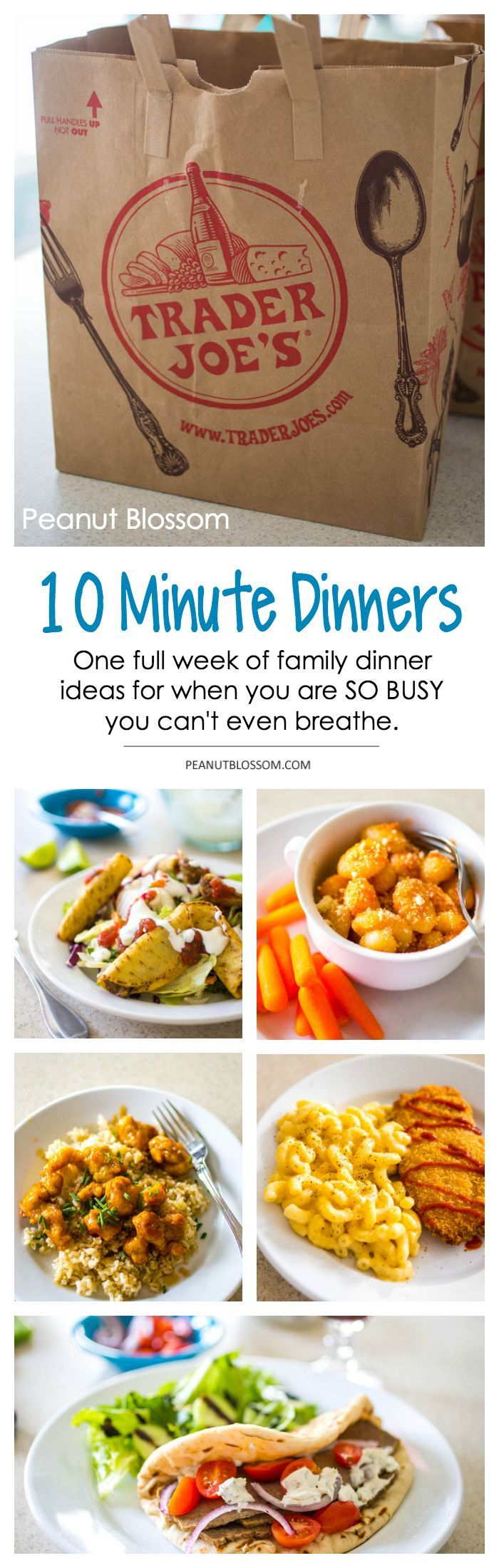 One week meal plan using awesome finds from Trader Joe's! These 10 minute dinners are perfect for super busy weeknights and help you get a meal on the table in a pinch. What a parenting life saver.